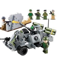 Wholesale Toy Assault Guns - Assault Vehicle World War 2 Tank Soldier Military SWAT Weapon Gun Army Building Blocks Figures Educational Toy Children Boy Gift