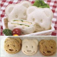 Wholesale Toasted Bread Cartoon - DIY Cookie Cutter Plastic Sandwich Toast Bread Mold Maker Cartoon Bear Tool Christmas Gifts 2017 Home Kitchen Tools