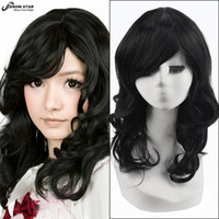 Wholesale Black Medium Length Cosplay Wig - Free Shipping Women Black Wigs Medium Length Wig with Bangs Wavy Curly Wig Natural Synthetic Black Wigs Perruque Afro Peruca Cosplay women's