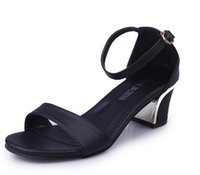 square sandals - Summer Woman Sandals Fashion Casual Women Pumps Square Cover Heel Buckle Strap High Quality Female New Concise Student Rubber Women Shoes