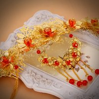 Wholesale Chinese Silk Ornaments - Wedding Bridal Bridesmaid Golden Red Chinese Style wedding ornaments Headdress 2018 Costume cheongsam Hair Jewelry Accessories Bridal Tiaras