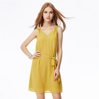 Wholesale Dreeses Sexy - New Arrival Chiffon Mini Dress V Neck Sexy Ladies Sleeveless Dreeses Slim Bow Waistband Square Clasp Decoration