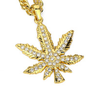 "Wholesale Wholesale Real Leaf Pendants - ""IN WEE WE TRUST"" Men'S 18k Real Gold Plated Leaf Piece Pendant Necklace With Clear Crystal FREE Cuban Chain"