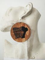 brincos de madeira pretos venda por atacado-Frete grátis 60mm New chegou CORES NEGROS de cabelo de crochê Brincos De Madeira