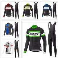 Wholesale Bike Jersey Bib Spring - Spring and Autumn GIANT cycling jersey sport suit mountain bike ropa ciclismo bicycle MTB bicicleta clothing 3D gel pad BIB