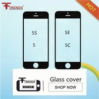 remplacement de couverture avant d'iphone achat en gros de-Pour iPhone 5 5S 5C Couverture de l'écran tactile lentille extérieure en verre avant pour iPhone 5 5S 5C Pièces de rechange de réparation Noir Blanc