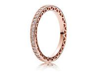 ingrosso in argento sterlina pandora 14k charms-Anello in argento sterling 925 placcato in oro rosa con cuori di gioielli in stile europeo Pandora