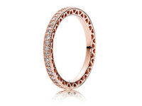 Rose Gold Plated 925 Sterling Silver Ring Hearts Of European Pandora Estilo Jóias Jóias Charm Ring Gift