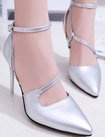 New Woman Pumps Women Shoes Primavera Verão Moda Casual Sexy Lady High Thin Heel Pointed Narrow Band Buckle Strap Leather Women Shoes