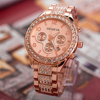 Wholesale platinum high end watches resale online - Hot women full diamond watch watch alloy trade high end watches