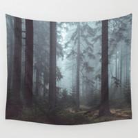 toile de paysage achat en gros de-bois brouillard forêt tenture décoratif tapisserie polyester nordique décor tendance tenture imprimée