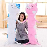 Wholesale Long Boyfriend Pillow - 150Cm Plush Himono Onna Cat Dry Sister Doll boyfriend long pillow cat stuffed bolster cushion girlfriend gift catlover present