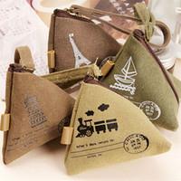 Wholesale Cute Mini Wallets Keys - Triangle Coin Purse Cotton Canvas Wallet Mini Cute Change Key Zipper Bag Case Pouch Women's Clutch Handbag Gifts Vintage Travel Wallet