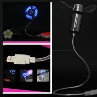 Wholesale Design Mini Fan - Free DHL Mini USB LED fan Plastic Alloy USB Temperature Fan for PCs Notebooks Flexible Gooseneck Design Laptop Power Fan