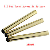 vape pen buttonless bud touch battery groihandel-Automatische Gold Bud Touch Batterie 510 Buttonless CE3 Batterie 280mAh Vaporizer Vape Pen Automatische Batterien für E-Zigaretten-Patronen DHL