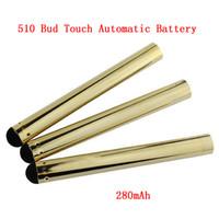 batería vape pluma automática al por mayor-Gold Bud Touch Battery 510 sin botón CE3 Batería 280 mah Vaporizador vape pluma Baterías automáticas para cartuchos de cigarrillos electrónicos DHL