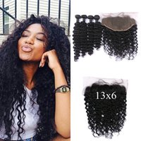 Wholesale burgundy human hair weave lace frontal resale online - 13x6 Virgin Lace Frontal With Bundles Natural Black Human Hair Peruvian Deep Wave Hair Weaves With Full Frontal Lace Closure
