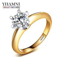 Wholesale Yellow Gold Women Diamond Rings - YHAMNI Top Quality 8mm 2ct Diamond 18KRGP Stamp Original Yellow Gold Ring Jewelry Full Sizes Women Wedding Rings 168J