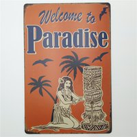 Wholesale Painted Paradise - Welcome to Paradise Vintage Metal Tin Signs Funny Retro Art Poster Man Cave Bar Pub Home Wall Decorations Plaque