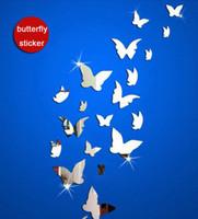 pegatinas de mariposa de cristal al por mayor-Espejo Pegatinas de pared 3D Tridimensional Pintura Mural Espejos de acrílico Plane Crystal Pasta Decoración de la mariposa Funlife Minuto 10 5fu