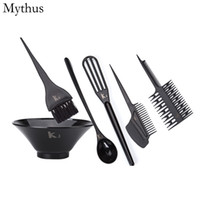 Wholesale Hair Bowls - Professional Hair Coloring Tools Set 6Pcs Set Silicone Hair Color Mixing Bowls Dyeing Mixing Bowl Tinting Brush Hairdressing Tools