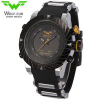 Wholesale Mens Digital Watch Leather Band - USA Luxury Brand WOLF-CUB Sport Watch Men Relogio Masculino 3D Design Silicone Band LED Digital Black Quartz Mens Watches