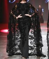 vestido largo de capa al por mayor-Apliques de encaje negro Vestidos para ocasiones de baile en el Dubai árabe con Cape 2019 Modest Fashion Crew Larga duración yousef aljasmi Vestidos de noche