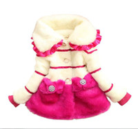 Wholesale Elegant Fleece Coats - cute thick baby girl coat solid elegant warm collar overcoat for 1-8yrs baby girl little children Winter princess outerwear clothes