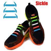 Wholesale Tie Shoes Style - Sickle style Lazy man shoelace No Tie Shoelaces Elastic Lacing Silicone Shoe Lace 12pcs lot v-tie V tie vtie shoelace
