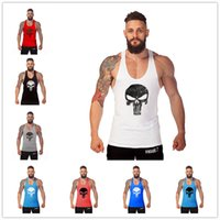 Wholesale Men S Skull Heads - 20 PCS Fitness Skull Head Stringer Gym Vest Tank Top Men's Muscle Tee Bodybuilding Sport Shirt Fitness Tank Tops