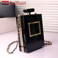 Wholesale Designer Women Perfume - New Famous Brand Designer Acrylic Box Perfume Bottles Shape Chain Clutch Evening Handbags Women Clutches Perspex Clear Black