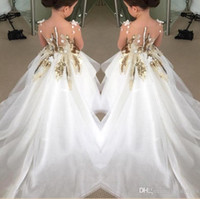 Wholesale Design For Girl Dresses - 2016 New Design Flower Girls Dresses For Weddings Long Sleeves Gold Sequins Pageant Party Gowns First Communion Dress For Child Teens Custom