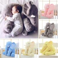 Wholesale Long Cushion Plush - 6 Colors 40cm Elephant Pillow INS Pillows Long Nose Elephant Dolls Baby Plush Toys Kids Stuffed Cushion Birthday Gift CCA7355 20pcs