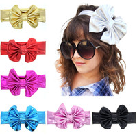 Wholesale Wholesale Leather Stamps - Fashion Girls Hot stamping Shiny Bowknot Headbands Kids big bow hairband baby headbands hair accessories children Headwear Hair Band KHA200