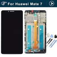 Wholesale Resistive Screen Smart Phones - Wholesale- Original for Huawei Mate 7 LCD Display And Touch Screen With Frame Assembly For Huawei Mate 7 Smart phone black white gold
