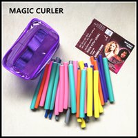 Wholesale Wholesale Hair Flexi Rods - Fashion Hair Curling Flexi Rods 42pcs set 7 styles Bendy Twist Magic Hair Curler Rollers Spiral DIY Hair styling tools