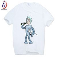 Wholesale Anime Appliques - Hecoolba 2017 Men's Rick and Morty Funny Anime T-shirt Casual Short sleeve O-Neck homme Summer White T shirt Swag Tshirt HCP134