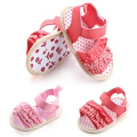 Wholesale Cotton Fabric Skirt - Girls Sandals Cotton Shoes Floral Skirt Style Soft Sole Hook & Loop Baby Walking Shoes 0-1T XG0724