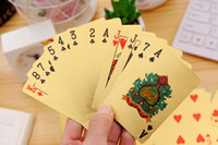 Wholesale Golden Plastic Plates Wholesale - Durable Waterproof Plastic Playing Cards $100 Gold Foil Golden Poker Cards 24K Gold-Foil Plated Playing Cards Poker Table Games Arts Gift