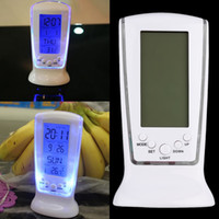 Wholesale Watch Switches - LED Digital LCD Alarm clock Calendar Backlight Desktop Clock Electronic Watch thermometer Backlight Square Gift For Kid