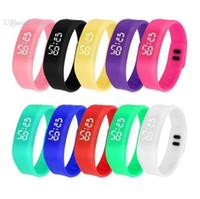 Wholesale Sport Watch Binary - Mini Digital Watches Slim LED Binary Men Ladies Teens Rectangle Outdoor Sports Wristbands Daily Water Resistant Boy Girl Wristwatch