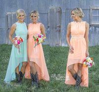 Wholesale Cheap Flowing Prom Dresses - New Cheap 2017 Country Bridesmaid Dresses Hi Lo Chiffon A Line Junior Bridesmaids Backless Prom Dress Flowing Lace Appliques Party Dress