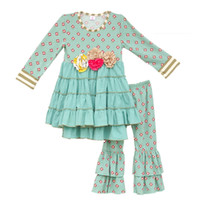 Wholesale Mustard Pie Girls Outfits New Arrival Baby Mint Floral Pattern Swing Top Ruffle Cotton Pants Clothes Kids Fall Clothing Set F075