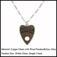 Wholesale Ouija White - 10pcs Fashion Stainless Steel Wood Charms Ouija Jewelry Choker Chunky Vintage Bib Beads Chain Pendant Necklace Statement