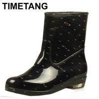 Wholesale mid calf rain boots - Wholesale- Women Waterproof Rain Boots Summer 2016 New Fashion Eur Size 36-40 Mid-calf Dots Plaid Leopard Rubber Rainboots Shoes 511