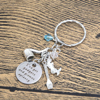 Wholesale Gadgets Promotion - 12pcs lot Ariel Inspired Little Keyrinng I've got gadgets and gizmos aplenty Little Mermaid jewelry Gift crystals keychain