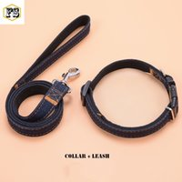 Wholesale Cartoon Materials - Two-piece set pet supplies dog collars and dog leashes Nylon+Jeans material 3 colors 4 sizes wholesale free shipping