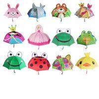 çocuklar karikatür şemsiye toptan satış-Güzel Karikatür Kulak Şemsiye Yaratıcı Uzun Saplı Şemsiye 3D Modelleme Güneşli Yağmurlu Bumbershoot Kurbağa Tavşan Prenses Ço ...