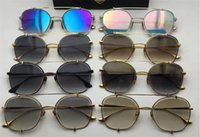 Wholesale Crystal Eye Lens - new women brand designer sunglasses 3.0 crystal lens coating mirror lens fashion square style summer style UV400 lens talon two top one