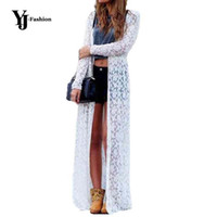 Wholesale Yj Fashions - Wholesale- YJ Fashion Plus Size Women Casual Summer Long Sleeve Beach Lace Cardigans 2017 Fashion Sexy Ladies Long Coats Blouses Tops